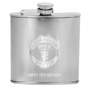 Manchester United FC Official Gift Boxed Laser Engraved 180ml Chrome Hip Flask