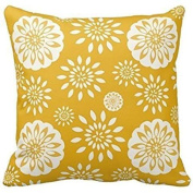 Home Decorative Mustard Blossom Special Yellow Floral Throw Pillow Throw Pillow Cover Cushion Case 46cm