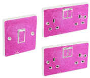 Hot Pink Glitter Wall lighting socket switch cover Sticker skin Round edge peel and paste light covers decorative plates glitter kids stickers nursery electric