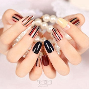 EchiQ 24pcs Artificial Tips False Fake Nail Simply Beauty Classic Black Red Clear Stripe