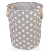Grey Star Canvas Storage Basket - High Quality Basket for Household Storage with White Stars. 40cms Diameter x 45cm Height
