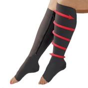 CHENRUI Zipper Compression Socks-Black(XXL))