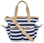 Mommy Baby Nappy Bag w/ Padded Infant Changing Mat (Striped) Waterproof Designer Tote | Trendy Shoulder or Adjustable Crossbody Carry | Everyday Handbag | 9 Pockets