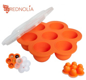 REDNOLIA Baby Food Freezer Tray with Clip-on Lid | Best Multiportion Silicone Food Storage Container for Homemade Baby Food Purees and BreastMilk | 7 x 70ml | BPA-FREE | Orange