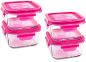 Wean Green Lunch Cubes Glass Food Containers - Raspberry
