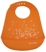Little Bot Baby Silicone Simple Bib, Autumn Fox,Orange. Ultra Soft, Waterproof, Comfortable, Easy to clean, Baby/Toddler, Germ-free