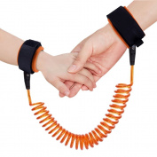 U-pick Child Adjustable Wrist Link Safety Strap Anti Lost Wrist,Safe Skin Friendly Anti Pricking Cotton Wrist Straps for Babies Kids Toddlers Runners with 1.8m/ Orange