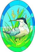 Bird Sitting in Grass with Wildflowers - Etched Vinyl Stained Glass Film, Static Cling Window Decal