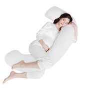 Angel C Shaped Pregnancy Pillow - Contoured Body Support Maternity Pillow for Side Sleeping - Premium Comfy Cover