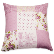 Decorative Cushion Pillow Cover Patchwork Flowers Lilac Print # 1661, Polyester, pink, 60 x 60
