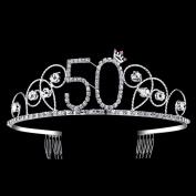 BABEYOND Crystal Tiara Birthday Crown Princess Crown Hair Accessories Silver Diamante Happy 50th Birthday