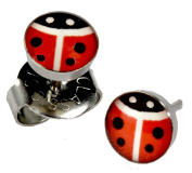 Ear Piercing Earrings Red Lady Bug 5mm Studs Stainless Steel Studex System 75 Hypoallergenic