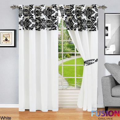 """RING TOP FULLY LINED PAIR EYELET READY CURTAINS LUXURY DAMASK CURTAIN RING TOP (90"""" x 90"""""""
