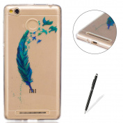 Xiaomi Redmi 3S Transparent case [with Free Black Touch Stylus],KaseHom Flexible TPU Gel Protective Skin Shock Absorption Technology Anti-scratching Rubber Bumper Feather Bird Printing Painting Design See Through Crystal Clear Silicone Cover for Xiaomi ..