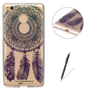 Xiaomi Redmi 3S Transparent case [with Free Black Touch Stylus],KaseHom Flexible TPU Gel Protective Skin Shock Absorption Technology Anti-scratching Rubber Bumper Blue Dreamcatcher Printing Painting Design See Through Crystal Clear Silicone Cover for X ..