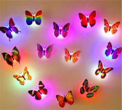 XMJR 16 pack LED 3D stereo luminous colourful self-adhesive stickers children room wall decoration simulation Butterfly Stickers creative