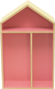 sonpó Online – Model afa32 Kids Shelf with form of afaeps House – Handmade wooden Traditional Way In – Pink with Three Compartments