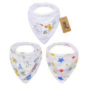 iZiv 3 PACK Baby Bandana Drool Bibs with Adjustable Snaps, Soft Towel Cloth 0-2 Years