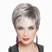 Towpwigy Womens Short Straight Human Hair Cool . Dark Root Silver Body Mixed Human Hair Natural Replacement Wigs