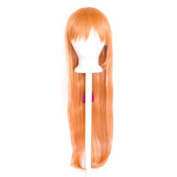 Tomoyo - Peach Bellini Wig 80cm Long Straight Cut w/ Long Bangs