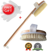 "The Best Dry Skin Body Brush With Free Wet Exfoliating Set & Cotton Travel Bag By Brooklyn Beauty 16"" Wooden Brush With Extra Long Bristles"