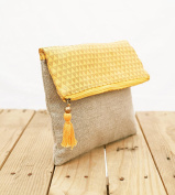 Boho linen pouch, brocade bag, yellow and gold, triangle pattern, moroccan, foldover clutch, 25cm X 20cm