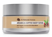 Arabica COFFEE BODY SCRUB with Organic Coconut Oil & Shea Butter   Organic Natural Face Cleanser and Exfoliate   Treats Acne, Cellulite, Stretch Marks, Scars, Age Spot   Made in Canada  240 ml   DOUBLE THE SIZE