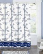Authentic Kids Blue Schematic Vintage Aeroplane Shower Curtain
