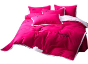 Ningkotex Brushed Cotton Blend Embroidery Girl's Pink Duvet Cover Set With Ruffles Flat Sheet 4 Pieces King Queen Twin Princess Style Beddings
