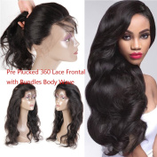 Beauty Princess Hair Mink Peruvian Hair Body Wave Pre Plucked 360 Lace Frontal with Bundles 8A Peruvian Body Wave Virgin Hair 360 Lace Frontal Closure with Bundles Natural Colour