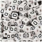 """BEADTIN Letter """"D"""" White w/Black 10mm Cube Alphabet Beads"""