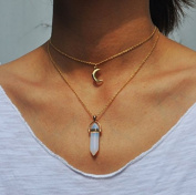 2 layer Bullet Shape natural stone choker necklace for women jewellery