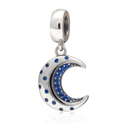 Dangling Moon With CZ Charm - Authentic 925 Sterling Silver & CZ - Fit DIY Charm Bracelets