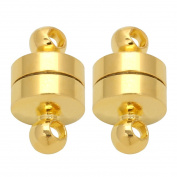Linsoir Beads 10 Sets Small Super Strong Magnetic Barrel Clasps for Heavy Necklaces Chunky Bracelets 6mmX11mm Gold Finish