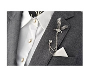 Men's Elegant Silver Tone Eagle Cross Crystal Chain Brooch Pin Lapel Stick for Suit Pin Brooch Badge for Tie Hat Scarf