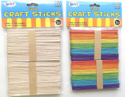 Multi pack 144 Assorted Popsicle Wood Craft Sticks