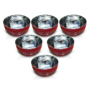 King International 100% Stainless Steel Red Designer Bowl Katoris Set of 6 Pieces,Solid and Durable, Mirror & Brushed Finish, Flat Bottom