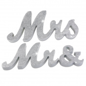 MR & MRS Wooden Words Letters Wedding Decoration / Present Table Decor In Cream