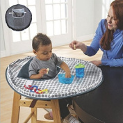 Lorcoo Baby Dinner Mat Cover Bumper Pad for Highchair, Waterproof Kid Dinning Placemat to Prevent the Baby Throw Food and Keep the Floor Clean, Grey
