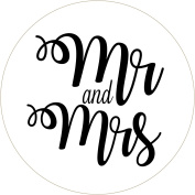 Mr & Mrs confetti bag pouches wedding favours labels stickers WHITE with BLACK text
