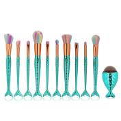 Iskas 10pcs Mermaid Makeup Brushes Set and 1pcs Big Fish Foundation Brush Soft Nylon Bristles Beauty Make-up Kit, Blending Blush Concealer Eye Face Lip Cosmetics Tools - Mint Green