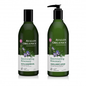 Avalon Organics Rejuvenating Rosemary Bath and Shower Gel and Avalon Organics Rejuvenating Rosemary Hand and Body Lotion Bundle With Rosemary Essential Oil, Calendula and Aloe, 350ml each