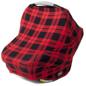 Stretchy Multi Use Carseat Canopy | Nursing Cover | Shopping Cart & High Chair Cover | Scarf - Plaid | Best Baby Shower Gift for Boys & Girls | Fits Infant Car Seats | For Breastfeeding Moms