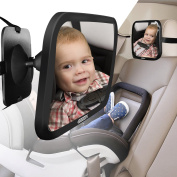 Baby Rear Seat Car Mirror by COOODI-Extra Large Size, 360 Degree Adjustability, Shatterproof - Essential Safety Accessory For Newborns and Young Children