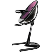 Mima Moon 2G Complete High Chair in Black with Aubergine Seat Pad
