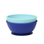 CB Eat Suction Silicone Bowls •Baby Toddler Infant •100% Non-Toxic • Stay Put Suction Bpa Free Silicone Bowls (Set of 2) by Chewbeads, Turquoise/Cobalt