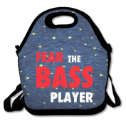 Fear The Bass Player Large & Thick Insulated Tote LunchBags Tote Lunch Bag For Men Women Kids Enjoy You Lunch