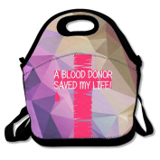 A Blood Donor - Saved My Life Large & Thick Insulated Tote BayfieldBags Zipper Lunch Bag For Men Women Kids Enjoy You Lunch