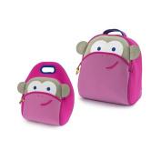 Dabbawalla Pink Monkey Backpack & Lunch Bag Set