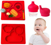 Elefuntot CHILDREN PLACEMAT & SIPPY CUP LID for Infants Toddlers Grownup Children & Pets, 100% Food Safe Silicone FDA Approved Baby Placemats, Easy Clean Non-Slip with 3 Compartments plates